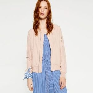 Zara Basic Light Pink Bomber Jacket